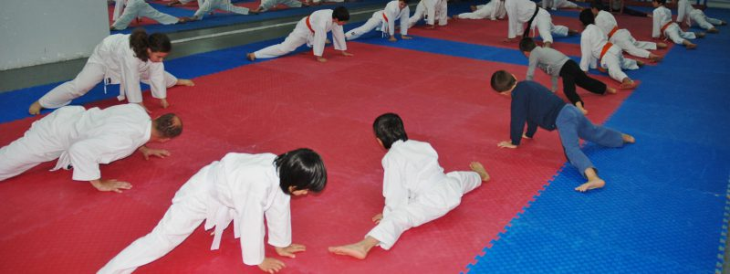 Mustafa with his son at karate practice (2012)